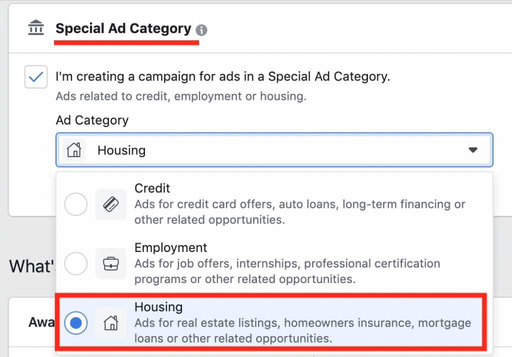 facebook special ad category real estate