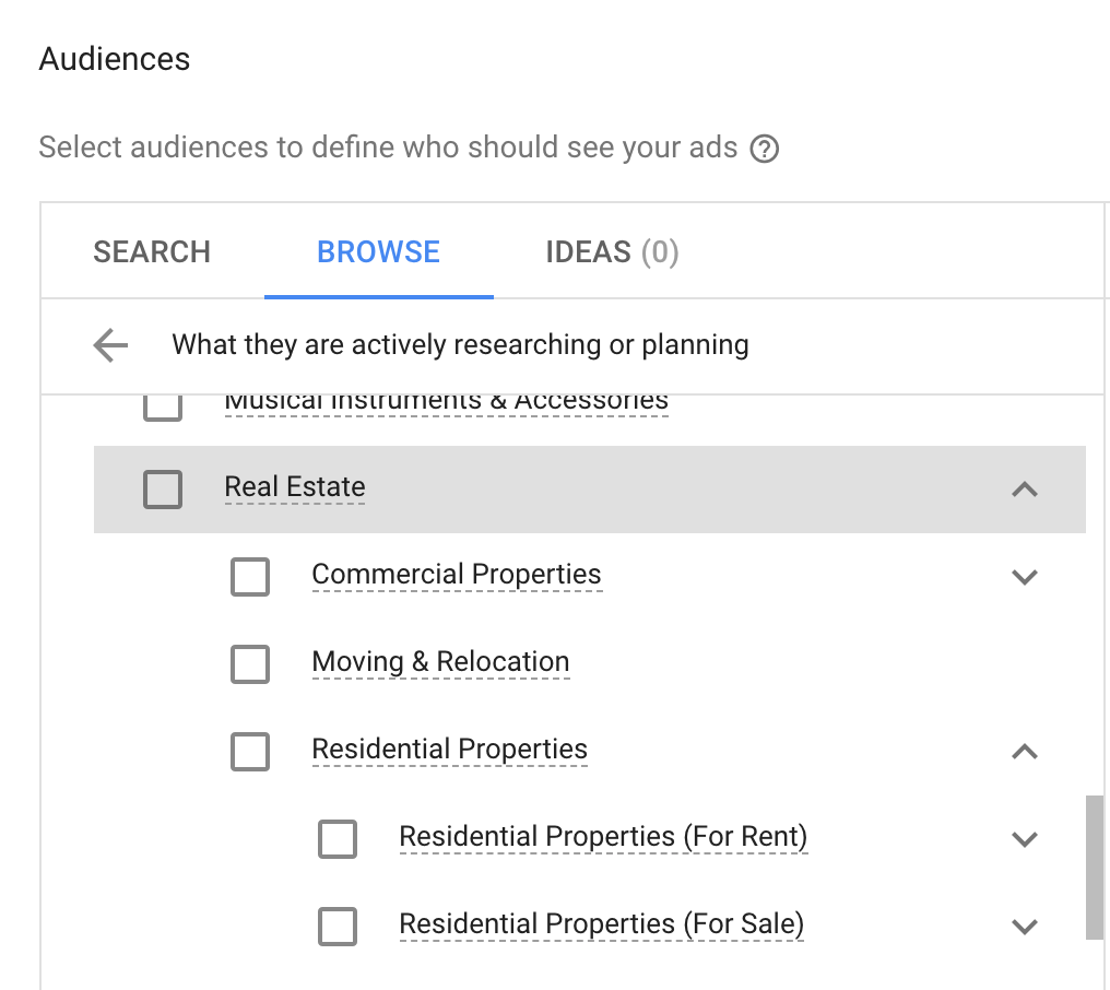 Google ad real estate targeting